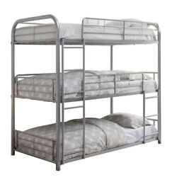 Saltoro Sherpi Metal Triple Twin Over Twin Size Bunk Bed With Built In Ladder