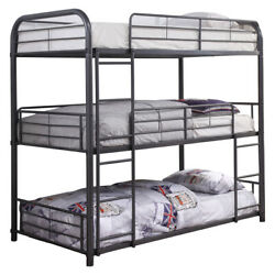 Saltoro Sherpi Metal Triple Twin Over Twin Size Bunk Bed With Built-in Ladders