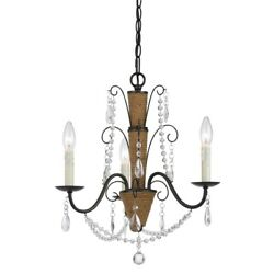 Saltoro Sherpi Scroll Metal Frame Chandelier With Hanging Crystals And Wrapped