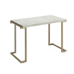 Saltoro Sherpi Contemporary Metal Frame Sofa Table With Faux Marble Top ,white