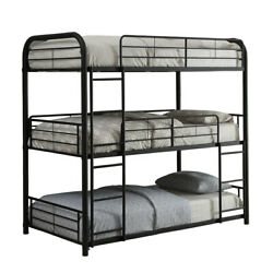 Saltoro Sherpi Triple Layer Twin Size Metal Bunk Bed With Attached Ladder Black