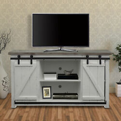 69 Inch Wooden Media Console With Barn Style Sliding Door Brown And White