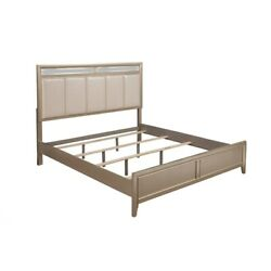 Saltoro Sherpi Pine Wood Queen Size Panel Bed With Upholstered Headboard Silver