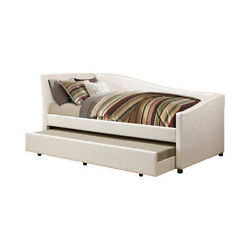 Saltoro Sherpi Leatherette Twin Daybed With Trundle And Curvy Sloped Back Beige