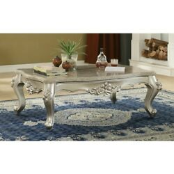 Saltoro Sherpi Traditional Style Rectangular Wood And Marble Coffee Table