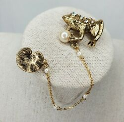 Vintage Frog Brooch Lily Pad Figural Gold Tone Clear Rhinestones Pin Faux Pearls