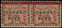 Canal Zone 20b Pair, Efo Normal And Antique Zone, Tropical Gum