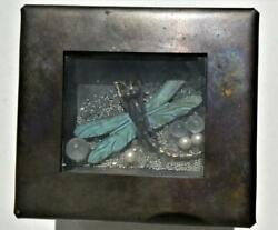 2007 Artisan Signed Shaker Copper Trinket Box With Dragonfly And Pearls