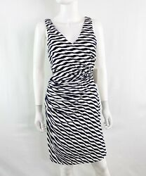 New Stitch Fix 41 Hawthorn Blue And White Ernesto Striped Fitted Dress Size M