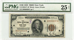 1929 100 Federal Reserve Bank Star Note Frb Of New York Pmg Vf 25 Net