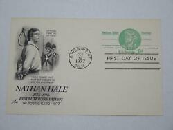 Us Postal Card Nathan Hale Revolutionary Patriot 1977 First Day Issue 9c 🌈⭐🌈