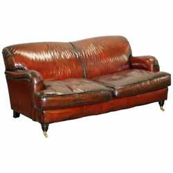 Hand Dyed Restored Bordeaux Reddish Brown Leather Howard And Sonand039s Style Sofa