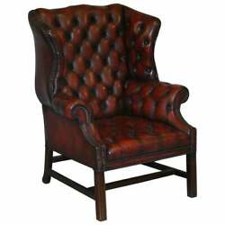 Vintage Restored Oxblood Leather Fully Tufted Chesterfield Wingback Armchair