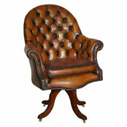 Restored Godfather Cigar Brown Leather Chesterfield Directors Captains Armchair