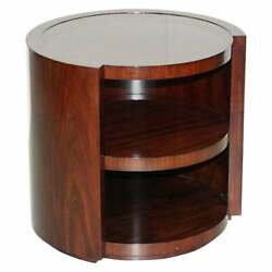 Rrp Andpound3800 American Mahogany Drum Side End Lamp Wine Table + Shelves
