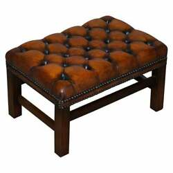 Restored Vintage Chesterfield Cigar Brown Leather Hand Dyed Footstool Bench