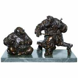 Signed Antique Chinese Bronze Statue Of Two Men One A Solid Green Marble Base