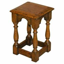 19th Century Antique Oak Jointed Stool Or Side End Lamp Wine Table Lovely Patina