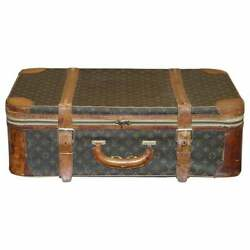 1 Of 2 Vintage Brown Leather Louis Vuitton Strapped Bronze Monogram Suitcases