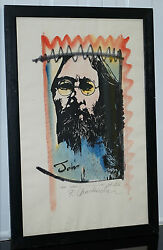 Signed Ron Chadwick Limited Edition John Lennon Signed Hand Colored Print