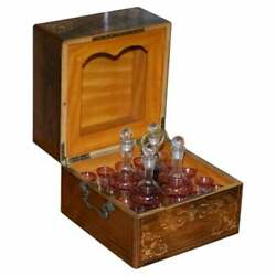 Very Rare Victorian Rosewood Liqueur Box With Cranberry Glass Decanters Glasses