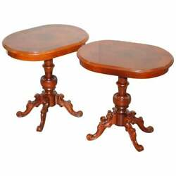 Pair Of Burr Walnut And Walnut Oval Side End Lamp Wine Tables Lovely Timber Patina