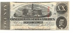 1863 Uncirculated Ink Hand Signed Csa Confederate Cut Cancelled 20 Dollar Note