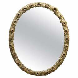 Sublime 19th Century Rose Flower French Giltwood Wall Oval Mirror Original Plate