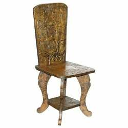 Very Rare Original Libertyand039s London Signed Qing Dynasty Chair Floral Carving