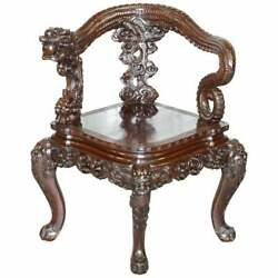 Stamped Japanese Circa 1880 Qing Dynasty Carved Rosewood Dragon Corner Armchair