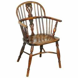 1 Of 6 Burr Yew Wood And Elm Windsor Armchairs Circa 1860 English Country House