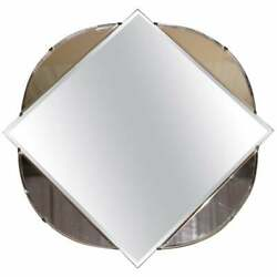 Lovely 1930and039s French Art Deco Bevelled Mirror With Square Inside Circle Rare