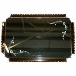 Lovely 1930and039s Peach French Art Deco Venetian Etched And Engraved Bevelled Mirror