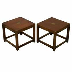 Pair Of Fully Restored Harrods Kennedy Mahogany Military Campaign Side Tables