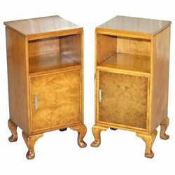 Pair Of Waring And Gillow 1932 Burr Walnut Bedside Cupboards Or Lamp Wine Tables
