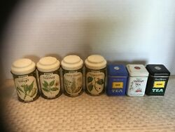 Vintage Lot Of John Wagner And Sons 3 Metal Tea Tins And 4 Spice Tin Jars
