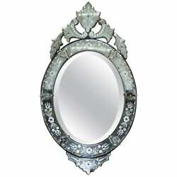 Circa 1890 Venetian Etched Glass Frame Wrought Iron Outer Casing French Mirror