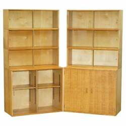 Vintage Pair Of 1972 Oak Stacking Library Legal Bookcases Glass Sliding Doors
