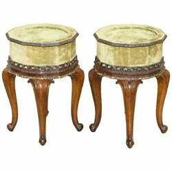 Sublime Pair Of Antique Circa 1860 Mahogany Carved Side Lamp Tables Velvet Tops