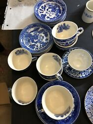 Large Vintage Blue Willow Collection With Many Rare Unique Items.