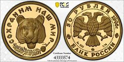 1996 Russia Proof Gold Coin 50 Roubles Amur Tiger Wildlife Pcgs Pr 70 Dcam
