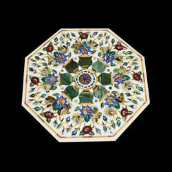 48 Table Top Marble Inlay Floral Handmade Home And Garden Decor