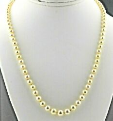 Antique 18k White Gold Gia Certified Acoya Pearl And Diamond Necklace N1832