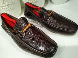 Crocodile Leather Men's Loafers Size 9 Rare Classic Dress Shoes Very Clean