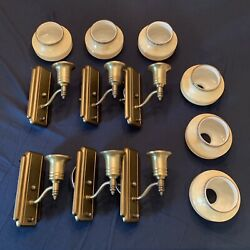 Set Of Six 6 Antique Art Deco Wall Sconces Fixtures Newly Wired Gill Shades