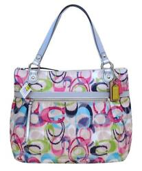 New Coach Poppy Signature Ikat Ivory Pink Blue Green Glam Tote Purse19876 Rare