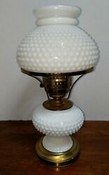 Vintage Hurricane Hobnail White Lamp White Milk Glass As-is For Parts