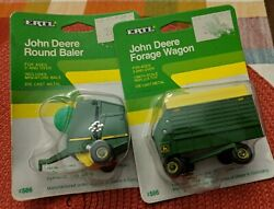 Vintage Ertl 1/64 John Deere Round Baler And Forage Wagon Farm Lot Of 2 In Package