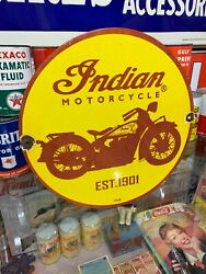 Indian Motorcycles Heavy Porcelain Sign Dated 1929 12 Inch, Great Sign