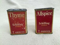 2 Vintage / Antique Schilling Allspice And Powered Thyme Spice Tins Andbull Red Andbull Sf